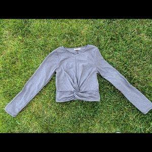 Grey knot crop top